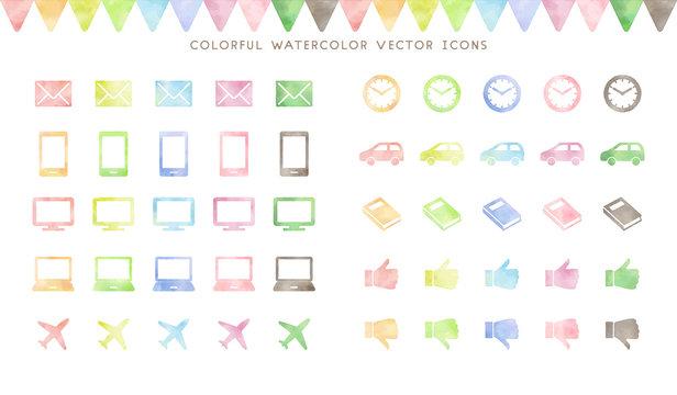 colorful watercolor vector icon set