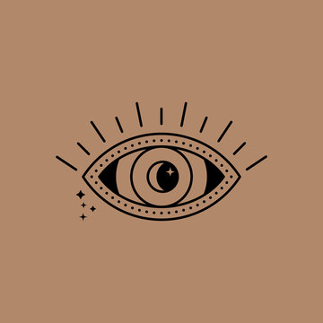 Mystical eye logo with moon and stars in a trendy minimal linear style. Vector emblem symbol of witchcraft