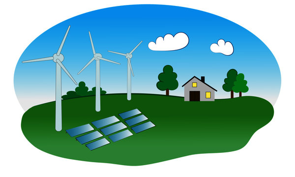 Wind power turbines with solar panels, a house and green nature, blue sky, vector illustration