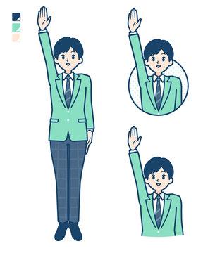 simple school boy Green Blazer_raise-hand