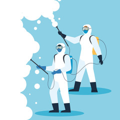 people with protective suit or spraying viruses of covid 19, desinfection virus concept