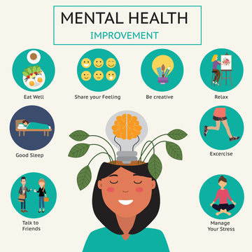 How to Improve your mental health infographic.vector.EPS10.illustration.