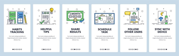 Habit tracking website and mobile app onboarding screens vector template