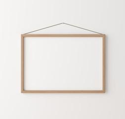 Mockup poster frame close up on wall, 3d render
