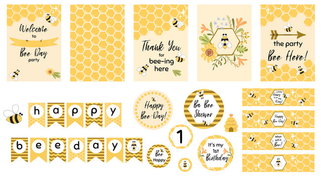 Bee party template set Bee baby shower invitations Cute kids party event Sweet honey bee day garland vector elements