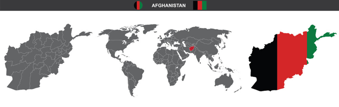 vector map flag of Afghanistan isolated on white background