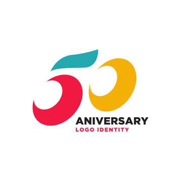 50 Years Anniversary, anniversary emblems 50 in anniversary concept template design