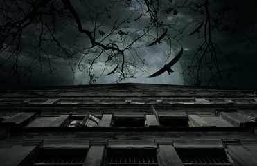 Ancient architecture building over dead tree, full moon, birds fly and cloudy spooky sky, Halloween mystery background