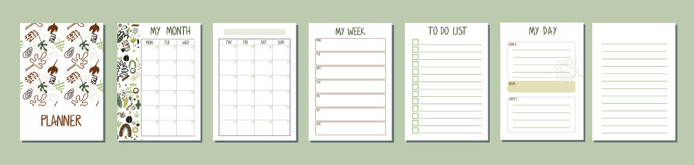 Set of planners with abstract design. Daily, weekly, monthly planner template. Notebook page isolated.