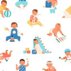 Cute colorful children smiling having fun seamless pattern vector flat illustration. Adorable joyful babies playing toys enjoying happy childhood on white background. Smiling infant kids