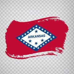 Flag of  Arkansas from brush strokes. United States of America.  Flag  Arkansas on transparent background for your web site design, logo, app, UI. Stock vector. Vector illustration EPS10.