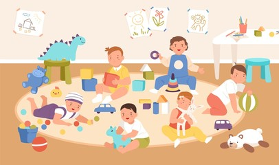 Happy cute kid playing with different toys and cubes at kindergarten interior vector flat illustration. Smiling boys and girls spending time at children playroom. Joyful babies at day nursery