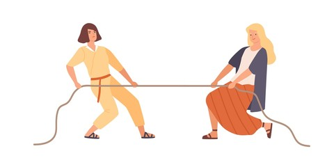 Smiling woman and angry female pulling opposite ends of rope vector flat illustration. Two rival girl during tug of war contest isolated on white background. Cartoon person have leadership struggle