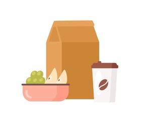 Colorful appetizing fresh food to go vector flat illustration. Paper package with meal, coffee cup, bowl with juicy apple and grape isolated on white background. Delicious lunch packaging