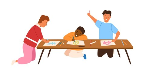 Group of happy diverse boys drawing pictures on paper vector flat illustration. Smiling kids painting use colorful pencil sitting at table isolated on white. Joyful children enjoy leisure together
