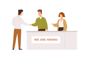 Friendly man and woman head hunter shaking hands with candidate during hiring process vector flat illustration. Professional recruiter and male after interview isolated on white background