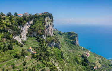 """Aerial view of rocks and Mediterranean sea at  Amalfi coast  from hiking trail """"Path of the Gods""""."""