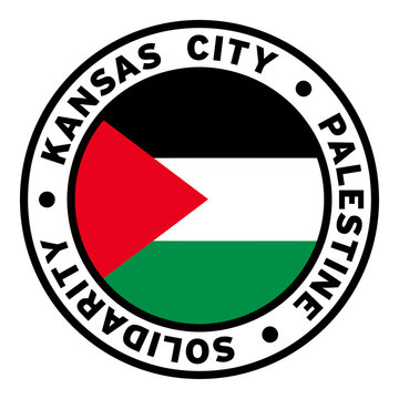 Round Kansas City Palestine Solidarity Flag Clipart