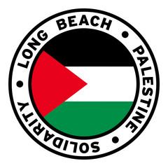 Round Long Beach Palestine Solidarity Flag Clipart