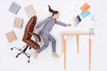 Top above high angle vertical view full length profile side photo of worried fear girl lawyer flat...