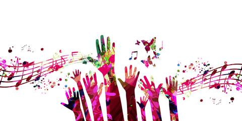 Music background with colorful music notes and hands vector illustration design. Artistic music festival poster, live concert events, party flyer, music notes signs and symbols with crowd of people