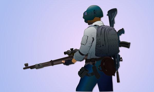 PubG soldier with Gun vector