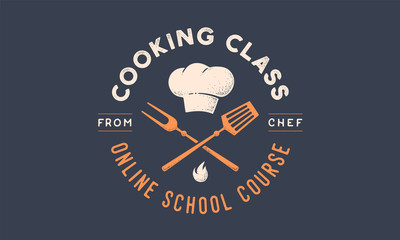 Food logo. Logo for Cooking school class with icon bbq tools, grill fork, spatula, text typography Coocking Class, School, Course. Graphic logo template for cooking cuisine course. Vector Illustration
