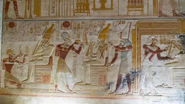 Temple of Seti I in Abydos. Abydos is notable for the memorial temple of Seti I, which contains the Abydos of Egypt King List from Menes until Seti I's father, Ramesses I. Egypt.