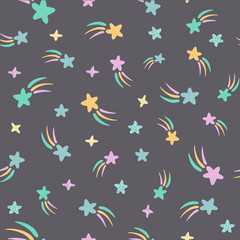 Cute kids stars seamless scandinavian pattern with hand drawn rainbows. Simple doodle elements in pastel colors.