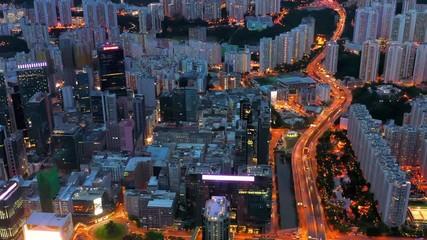 Wall Mural - Night aerial view of Kwun Tong, commercial aera in Kowloon, Hong Kong