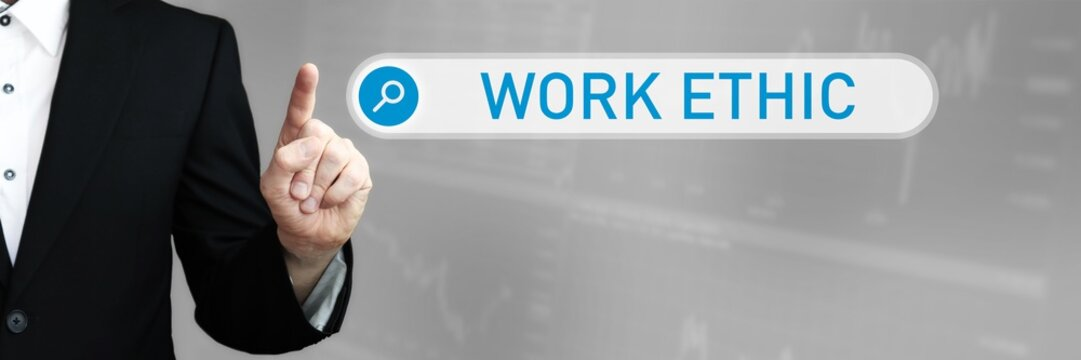 Work Ethic. Businessman (Man) in a suit pointing with his finger to a search box. The word is in focus. Blue Background. Business, Finance, Statistics, Analysis, Economy