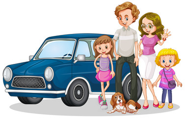 Keuken foto achterwand Kids Happy family in front of car
