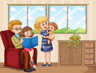 Keuken foto achterwand Kids Family member cartoon character in living room
