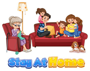 Keuken foto achterwand Kids Happy family stay at home