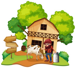 Keuken foto achterwand Kids Isolated farmer and house on white background