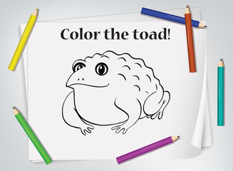 Keuken foto achterwand Kids Children toad coloring worksheet