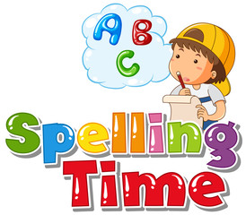 Keuken foto achterwand Kids Font design for word spelling time with boy thinking