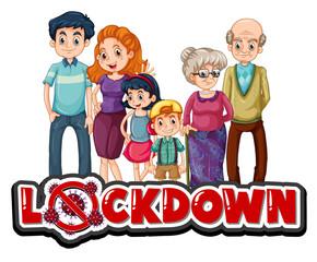 Keuken foto achterwand Kids Lockdown sign with happy family