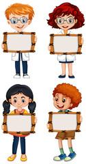 Keuken foto achterwand Kids Blank sign template with happy children on white background
