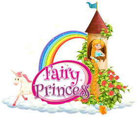 Keuken foto achterwand Kids Font design for word fairy princess with princess in the tower
