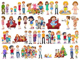 Keuken foto achterwand Kids Group of family member characters