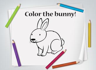 Keuken foto achterwand Kids Children bunny coloring worksheet