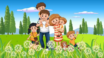 Keuken foto achterwand Kids Happy family at the park