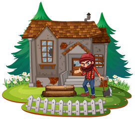 Keuken foto achterwand Kids Lumberjack in front of old house
