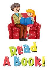 Keuken foto achterwand Kids Father and daughter reading book