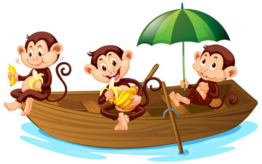 Keuken foto achterwand Kids Three monkeys eating banana on the boat