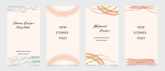 Fotobehang - Design backgrounds for social media post and stories. Photo frame template for shop , fashion, blog, web ads. Trendy Memphis design cover. Abstract shape with minimal design. Vector  illustration.
