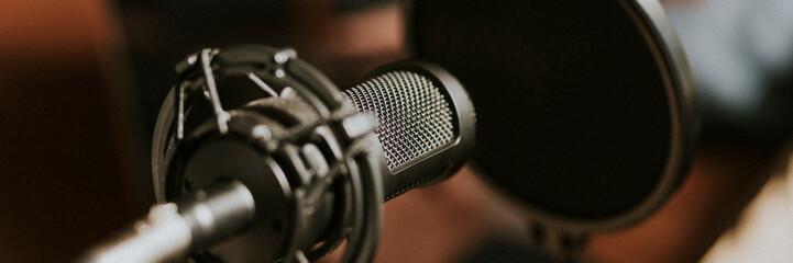 Closeup shot of a microphone