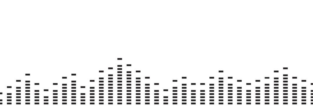 Sound digital wave, simple black border. Music radio wave. Digital voice graphic design, vector illustration.