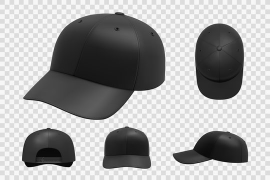 Black cap mockup set. Illustration of realism style drawn sport baseball headwear template front top side and back view or angle. Collection of summer uniform hat with visor on transparent background.